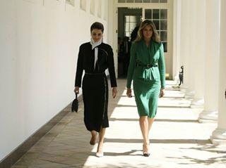 الملكة رانيا فى أول ظهور رسمى لها مع ميلانيا ترامب