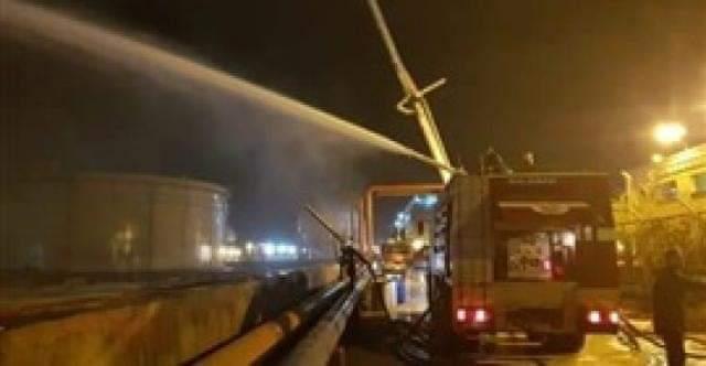 الإسكندرية للبترول :موجات البرق و الأمطار سبب اندلاع حريق أحد المستودعات