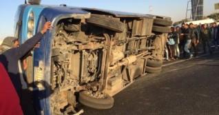مصرع وإصابة 24 شخصا في حادث تصادم أتوبيس بطريق«بلبيس»