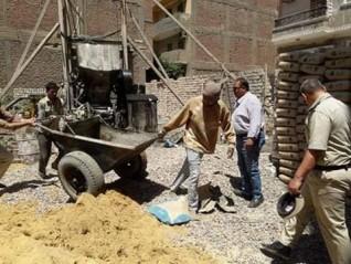 مركز بنى مزار بالمنيا : إيقاف5حالات تعد بالبناء بدون ترخيص