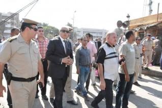 محافظ المنيا يتابع اعمال حملة إزالة الإشغالات والمخالفات بمنطقة الحبشي