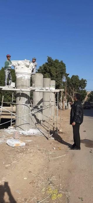 الوحدة المحلية لمجلس قروى نواى تواصل العمل بمدخل قرية الاشمونين بمركز ملوى