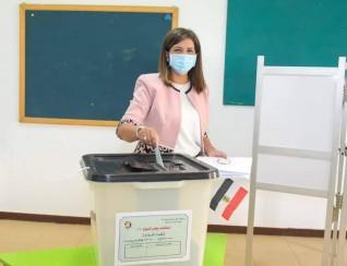 وزيرة الهجرة تدلي بصوتها في انتخابات مجلس الشيوخ