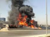 حادث تصادم مروع يؤدي إلى انفجار سيارتين على الدائري